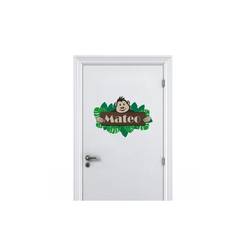Stickers plaque de porte jungle pour d coration chambre for Plaque pour porte de chambre