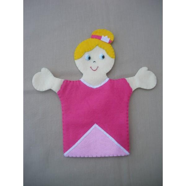 Marionnette main feutrine princesse